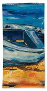 Blue Boat On The Mediterranean Beach Beach Towel