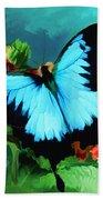 Blue Butterfly On Lantana Plant Oil Painting Beach Towel