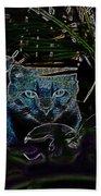 Blue Cat In The Garden Beach Towel