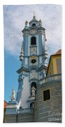 Blue Church Tower In Durnstein Beach Towel