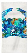 Blue Crab Art By Sharon Cummings Beach Towel