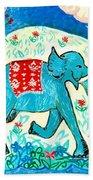 Blue Elephant Facing Right Beach Towel