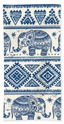 Blue Elephant With Ornaments Design Beach Towel