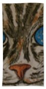 Blue Eyed Tiger Cat Beach Towel