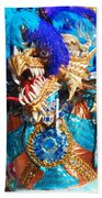Blue Feather Carnival Costume And Colorful Background Horizontal Beach Towel