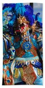 Blue Feather Carnival Costume Full Beach Towel