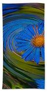 Blue Flower Whirlpool Beach Towel
