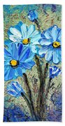 Blue Flowers  Beach Sheet