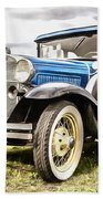 Blue Ford Model A Car Beach Towel