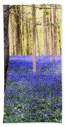 Blue Forest In Shadow Beach Towel