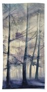 Blue Forest In Winter Beach Towel