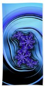 Blue Fractal Art Curved And Elegant Beach Towel