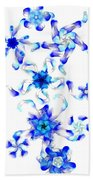 Blue Fractal Flowers Beach Towel