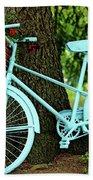 Blue Garden Bicycle Beach Towel