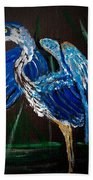 Blue Heron At Night Beach Towel