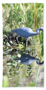 Blue Heron Fishing In A Pond In Bright Daylight Beach Towel