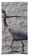 Blue Heron  On The Lake Beach Sheet