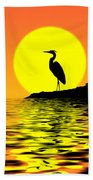 Blue Heron Sunset Beach Towel