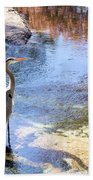 Blue Heron With Shadow Beach Towel