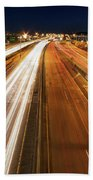 Blue Hour Freeway Light Trails Beach Towel