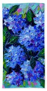 Blue Hydrangeas - Abstract Floral Composition Beach Towel