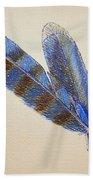 Blue Jay Feathers Beach Towel