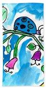 Blue Ladybug Beach Towel