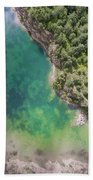 Blue Laggon See From Above In Old Sand Mine In Poland. Beach Towel