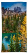 Blue Lake And Early Winter Spires Beach Towel