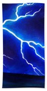 Blue Lightning Above The Ocean Beach Towel