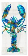 Blue Lobster Art By Sharon Cummings Beach Towel