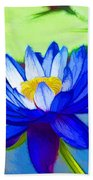 Blue Lotus Flower Beach Towel