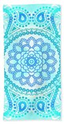 Blue Lotus Mandala Beach Towel
