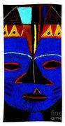 Blue Mask Beach Towel by Angela L Walker