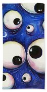 Blue Monster Eyes Beach Towel