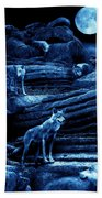 Blue Moon Wolf Pack Beach Towel