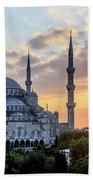 Blue Mosque At Sunset Beach Towel