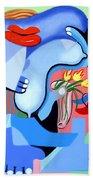 Blue Nude With Tulips Beach Towel