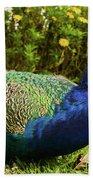 Blue Peacock Beach Towel