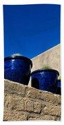 Blue Pottery On Wall Beach Sheet