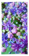 Blue Purple Hydrangea Flower Macro Art Beach Towel