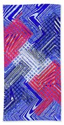 Blue Red And White Janca Abstract Panel Beach Towel