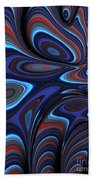 Blue Red Folds Beach Towel