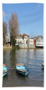 Blue Rowing Boats On The Thames At Hampton Court London Beach Towel