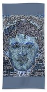 Blue Self Portrait Beach Towel