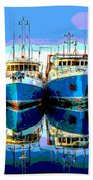 Blue Shrimp Boats Beach Towel
