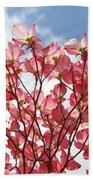 Blue Sky Clouds Landscape 7 Pink Dogwood Tree Baslee Troutman Beach Towel