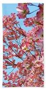 Blue Sky Floral Art Print Pink Dogwood Tree Flowers Baslee Troutman Beach Towel