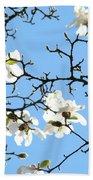 Blue Sky Floral Art White Magnolia Tree Beach Towel