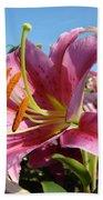 Blue Sky Floral Landscape Pink Lilies Art Prints Canvas Baslee Troutman Beach Towel